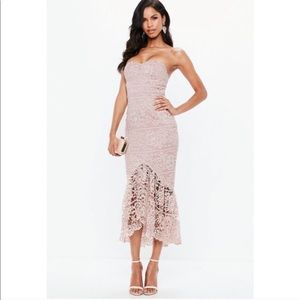Missguided Pink Lace Fishtail Maxi Dress